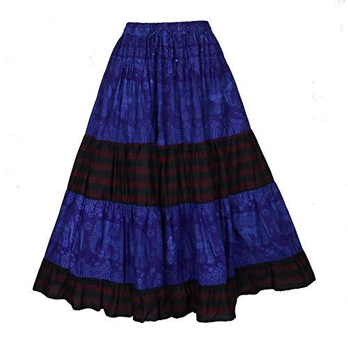 BONYA Women's Hippie Boho Patchwork Tiered Elastic Stretch Waist with Drawstring Skirt (Dark Purple2)