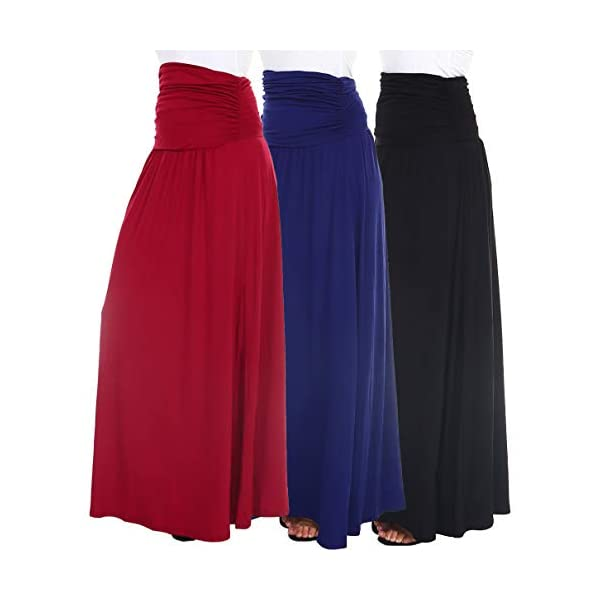 Isaac Liev Women's Maxi Skirt – 3 Pack High Waisted Ruched Fold Over Elastic Waistband Flowy Long Length Skirts Made in USA