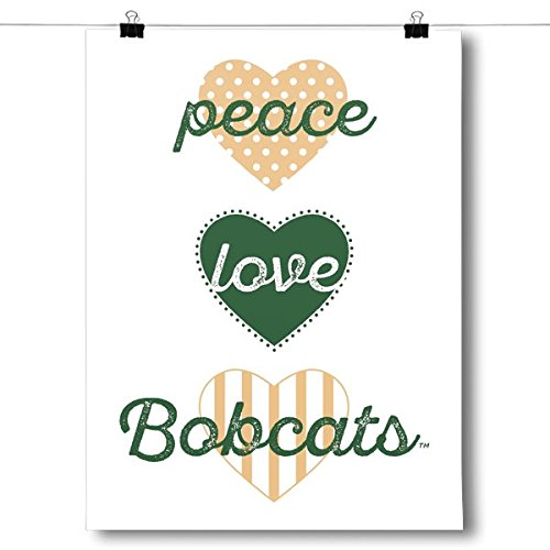 Inspired Posters Peace, Love, Bobcats  - NCAA Poster Size 24