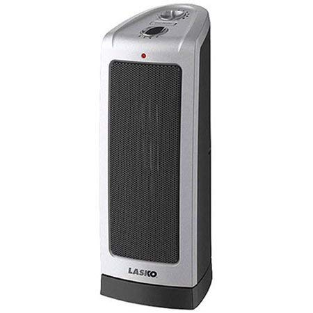 Space Heater-Lasko Electric Oscillating Ceramic 1500-Watt Tower Heater-Elongated ceramic heating element extends your comfort zone 1500W of comforting warmth Manual adjustable thermostat-great as patio heater too- Is Perfect For The Colder Weather-Guaranteed! (Lasko Electric Oscillating Ceramic 1500 Watt Tower Heater)