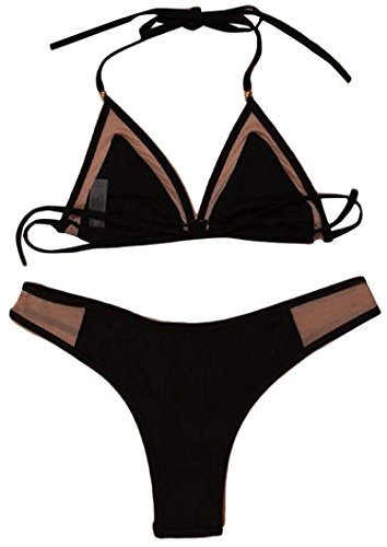 Womens Push up 2 Piece Vintage Bikini Set Swimsuit Comfortable,USX-S=ChinaS,Black (Best Epilator Brand Philippines)