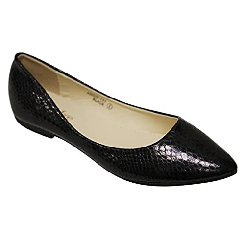 hot Bella Marie Womens Angie-101 Pointy Toe Patent Flats Silver