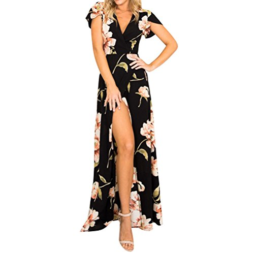 WLLW Women Short Sleeve Wrap V Neck Floral Print Tie Front Split Long Max, Black, XL (Print Dress Short Sleeve Wrap)