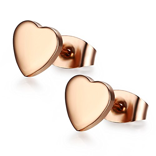 Weeno Girls Fashion Jewelry Stainless Steel Rose Gold Plated Small Heart Ear Stud Earring - 7mm (Rose gold plated)