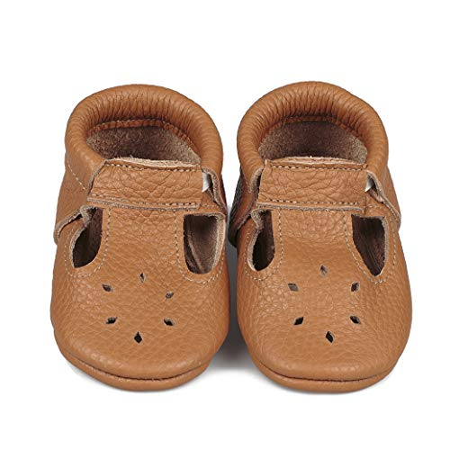 LittleBeMocs T-Strap Baby Moccasins (Italian Leather) Soft Sole Shoes for Boys and Girls | Infants, Babies, Toddlers (3-6 Months, Caramel)