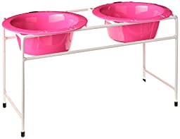 Platinum Pets Double Diner Feeder with Stainless Steel Dog Bowls, 28 oz, Pink