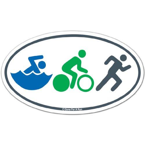 Swim Bike Run (Figures) Triathlon Triathlon Car Magnet by ChalkTalk SPORTS