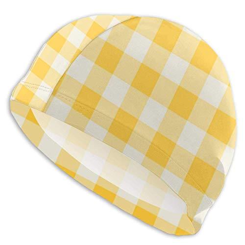 ZSStore Swim Cap Bathing Caps Funhouse Gingham in Lemon Yellow Wallpaper (6930) Print Unisex for Women Men