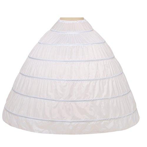 Noriviiq Womens A-Line 6 Hoops Skirt Floor Length Crinoline Petticoat Slips Underskirt for Wedding Dresses