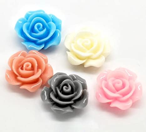 frosted 100 mixed colors jewelry making earring parts necklace parts FLOWERS ROSES cabs CABOCHONS petals 20mm acrylic