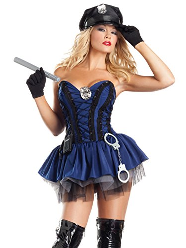 Navy Blue Sexy Cop Costume Womens 7 Piece Set Corset Dress with A-Line Skirt Sizes: Medium-Large ()
