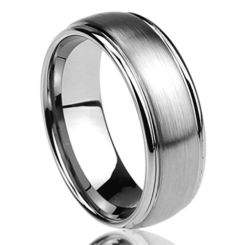 Center Titanium Wedding Band (8MM Titanium Comfort Fit Wedding Band Ring Brushed Center Domed Ring (7 to 14) - Size: 10)