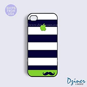iPhone 5 5s Case - Blue Green Stripes Mustache iPhone Cover