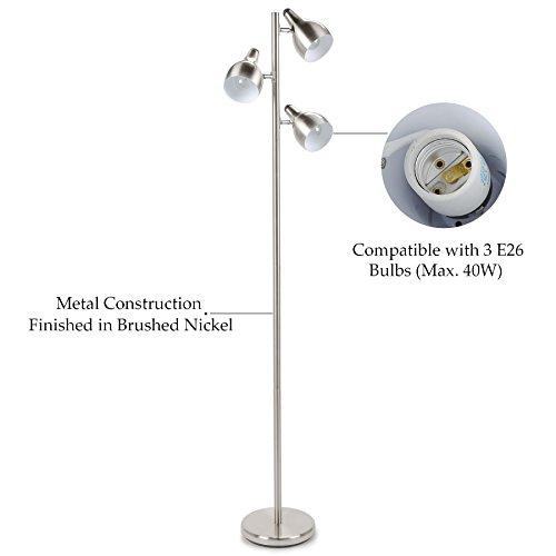 Co Z 3 Light Brushed Nickel Tree Floor Lamp 3 Arc