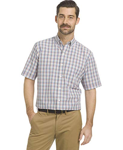 Arrow 1851 Men's Big and Tall Hamilton Poplins Short Sleeve Button Down Plaid Shirt, Riviera, X-Large - Mens Poplin Pull