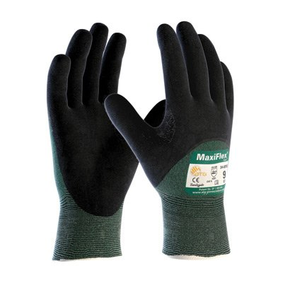 Protective Industrial Products 34-8453/L Large Green And Black MaxiFlex Cut By ATG Engineered Yarn Cut Resistant Gloves With Continuous Knitwrist, Dotted Palm, Fingers And Knuckles And Reinforced Thumb Crotch (12/PR)