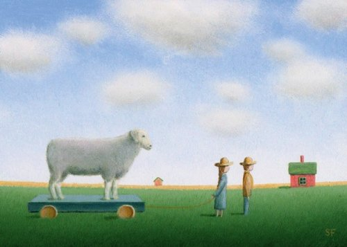 Here We Go (Children with Sheep) by Sharon France 16