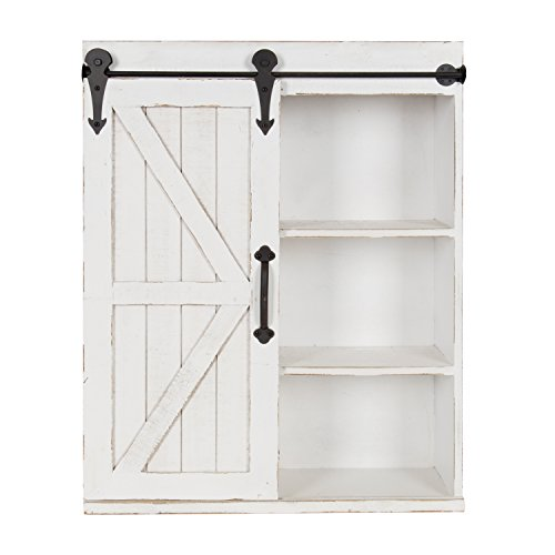 Kate Laurel Cates Wood Wall Storage Cabinet Sliding Barn Door, Rustic White