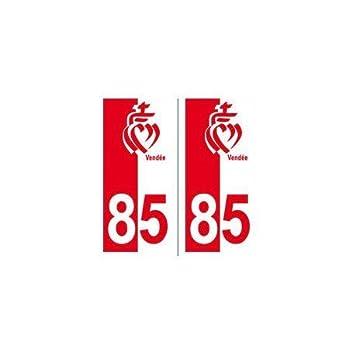 85 coeur Vendé e fond rouge blanc autocollant plaque - droits EUSKAL HERRIA EH