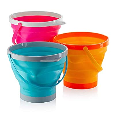 Foldable Pail Bucket Collapsible Buckets Multi Purpose for Beach, Camping Gear Water and Food Jug, Dog Bowls, Cats, Dogs and Puppys, Camping and Fishing Tub, (Half Gallon): Toys & Games