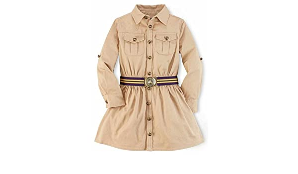 82fb52c10 Amazon.com: Ralph Lauren Polo Girls Chino Cargo Shirtdress Dress (3 3T):  Clothing