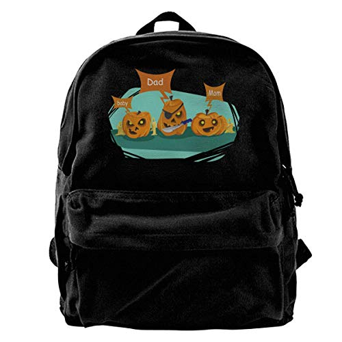 Classic Canvas Backpack Dad Halloween Pumpkin Costume Unique Print Style,Fits 14 Inch (Halloween Costumes Baby Carrying Dad)