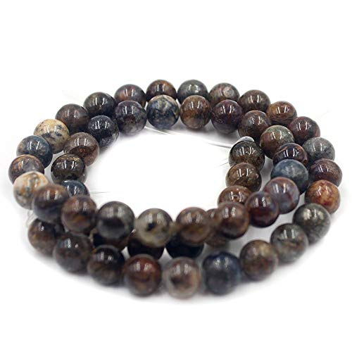 """Jewelry Making Craft Natural 8 10 12mm Round Pietersite Jasper Gemstone Loose DIY Beads Strand 15"""" (8mm)"""