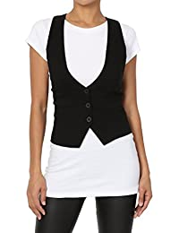 TheMogan Women Plus Dressy Casual Versatile Racerback Vest Tuxedo Suit Waistcoat