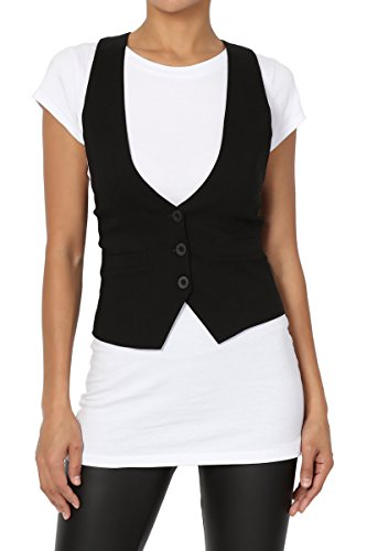 TheMogan Women's Dressy Casual Tuxedo Fully Lined Suit Vest Waistcoat Black L ()