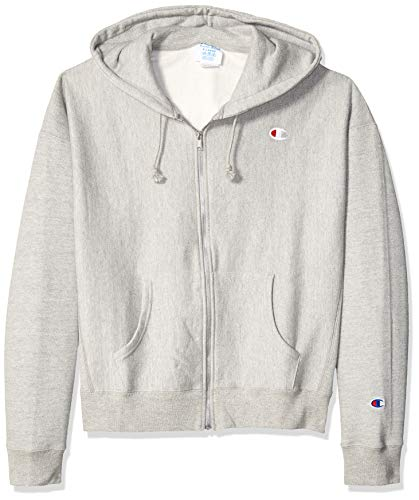 - Champion LIFE Men's Reverse Weave Pullover Hoodie, Oxford Gray - Left Chest c Script, 2X Large