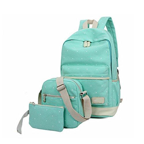 3 Unids/set Mochila de Moda de Lona Para Adolescentes Grils Mochila de Las Mujeres Casuales de Muy Buen Gusto Dot Computer Travel Bag Green