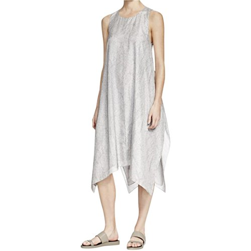 Eileen Fisher Womens Petites Silk Printed Casual Dress Gray - Womens Eileen Silk Fisher