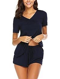 93262fba17 Women s Shorts Pajama Set Short Sleeve Sleepwear Nightwear Pjs S-XXL