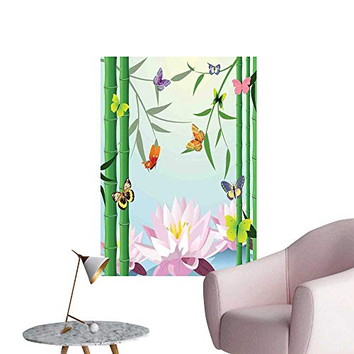 Butterflies Waterproof Art Wall Paper Poster Butterflies on The Branch of Lotus Bamboo Flower Exotic Nature Mod Graphic Art Home bar Cafe Poster Multi W8 x H10