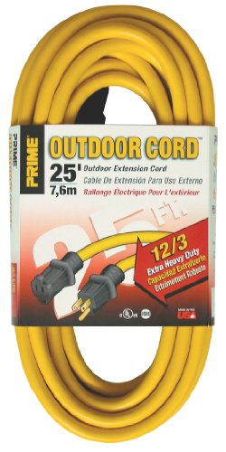 Prime Wire & Cable EC500825 Prime Extra Heavy-Duty, Single Outlet Extension Cord, 12/3 ga, 15 A, 125 V, 25 ft L, Yellow