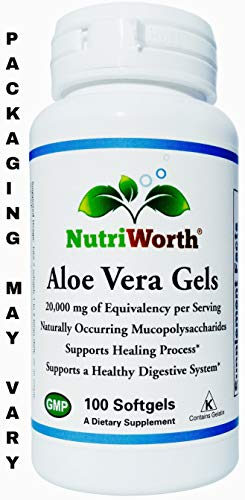 (NutriWorth Organic Aloe Vera Gels 20,000mg Kosher Certified, NON-GMO - 100 Softgels)
