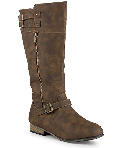 Twisted Women's Noah Wide Width/Wide Calf Knee High Faux Leather Boots with Buckle Straps - NOAH01P DK TAUPE, Size 9