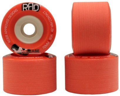RAD Rider Approved Designs Release 72mm 80a Red Longboard Skateboard Wheels Set of 4