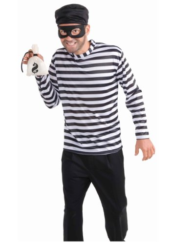 (Men's Burglar Costume, White/Black, One)