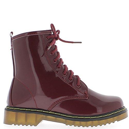Aumento mujer botas que Burdeos doble barnizada cordones de tacón 3cm