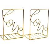 Bookends Gold, Decorative Metal Book Ends Supports for Shelves (1 Pair) (Gold)