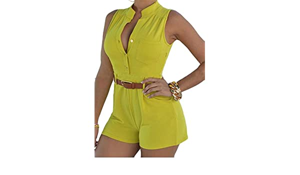 1211b7c17d45 Amazon.com  Cromoncent Womens Summer Belt Pocket Sleeveless Short Playsuit  Jumpsuits Yellow US-L  Clothing