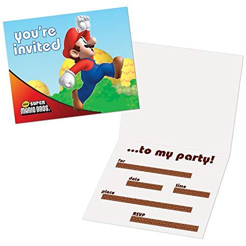 Shop Birthday Invitation (Super Mario Bros Party Supplies - Invitations (8))