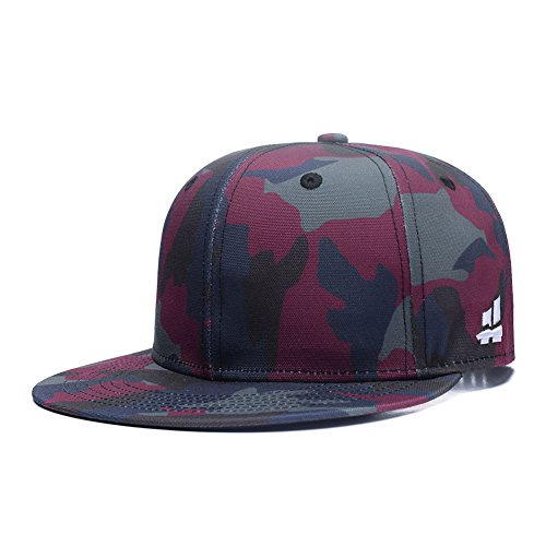- Unisex Camouflage Baseball Cap,Classic Army Camo Adjustable Snapback Flat Bill Brim Trucker Hat Red Green Blue