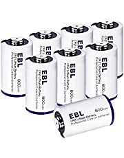 EBL CR2 Lithium Photo Batteries 3V with PTC Protection for Flashlight Camera 8 Pack