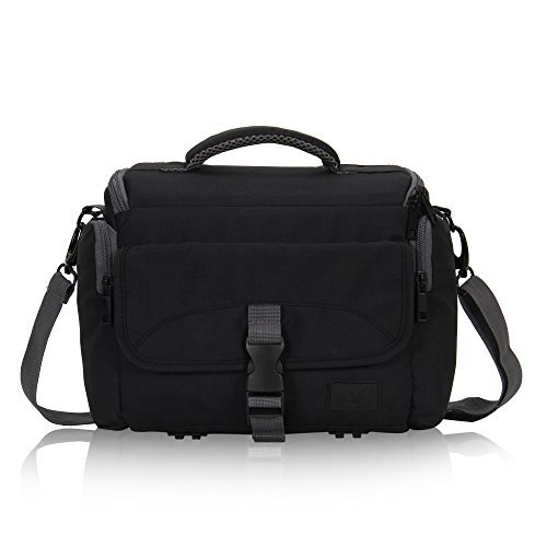 (Hynes Eagle Compact Camera Shoulder Bag Shockproof Water Resistant Messenger Bag for SLR DSLR Black)