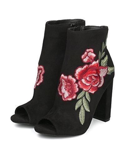 Peep Toe Rose - Botín De Tacón Alto Con Estampado De Flores, Estilo Retro, Rosa - Hf12 By Wild Diva Collection - Gamuza De Antelina Negra