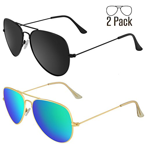 Color Contact Costumes Lens (LIVHO G 2 Pack of Classic Aviator Polarized Sunglasses for Men Women Metal Mirror UV400 Lens)