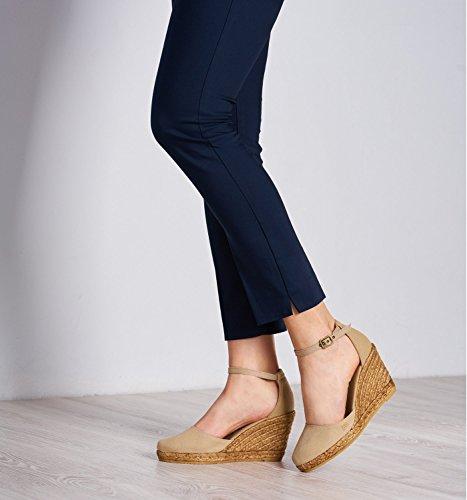 made tela chiusa Espadrillas 7 cinturino in nbsp;cm caviglia Estartit in punta Viscata 62 alla eleganti comode Spagna Beige tacco vHXZxqw