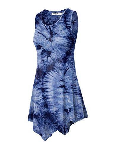 WT1065 Womens Sleeveless Tie-Dye Tunic Tank Top M NAVY